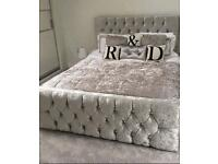Crushed Velvet Milan Bed with Diamonds