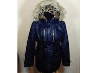 Ladies Winter Coat Jacket Size 16 Primark Atmosphere Faux Fur Lined