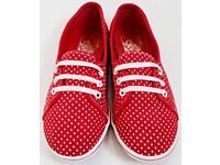 Women's Size 4 Red and White Spotty Vans Pumps / Plimsolls