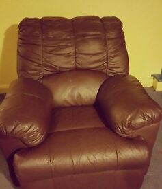 Large Brown Leather Recliner Armchair