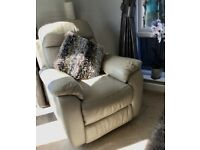Leather swivel and recliner chairs (2) colour stone