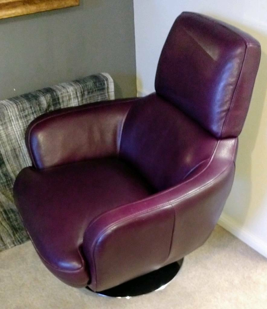 Stylish Retro Leather Swivel Armchair Purple Leather In Alnwick
