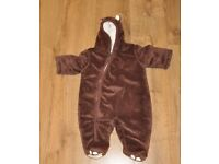 Mothercare baby boy pramsuit snowsuit all in one thick 3-6 months