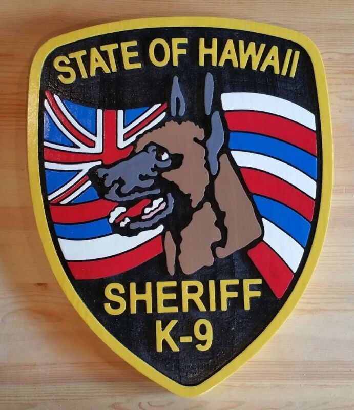 Police Hawaii Sheriff k-9  3D routed wood award patch plaque sign Custom Carved