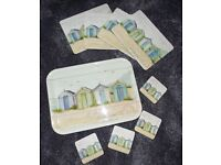"""""""Beach Hut"""" theme Table mats and Tray"""