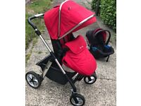 Red Silver Cross Wayfare/Pioneer pushchair with car seat, adaptors, rain cover and changing bag