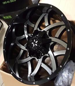 New GLOSS BLACK MACHINED FACE 20x10 -24 HEAVY DUTY WHEELS!! 8x170 FORD F250 F350 - 1011