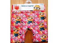 Girls Minions All Over Pile On Minion Print Fashion Leggings 2 to 3 Years NEW