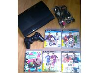 Sony Black Super Slim Playstation 3 PS3 Console & Games