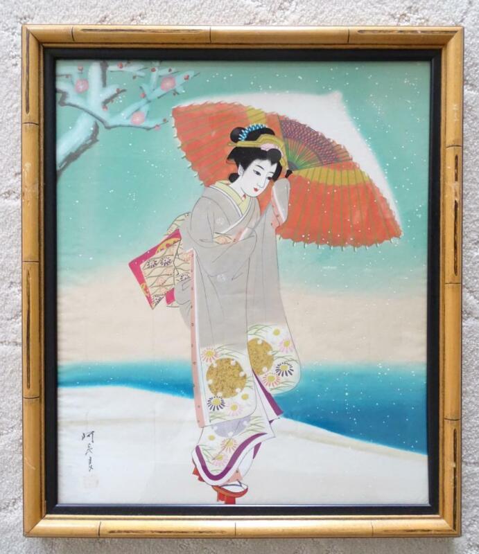 Vintage Estate Japanese Geisha Painting on Silk