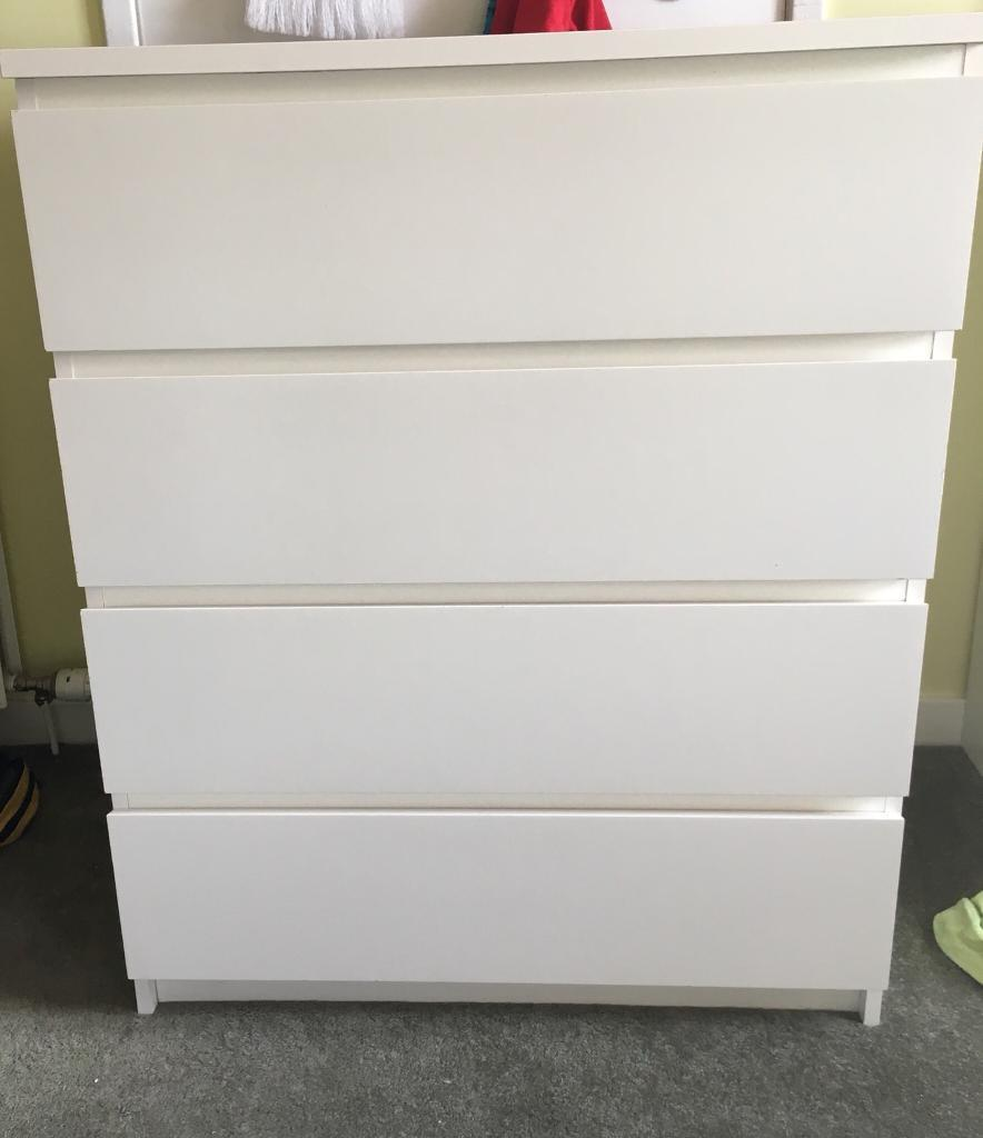 Sold Ikea White Malm Chest Of Drawers X 4