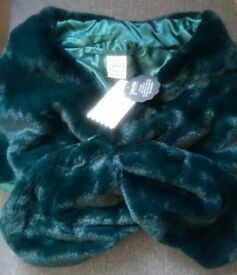 Brand new with tags - Emerald Green Faux Fur Stole / Wrap / Shrug