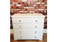 """ANNIE SLOAN """"OLD WHITE"""" SOLID PINE 4 DRAWER CHEST OF DRAWERS WITH DIAMOND KNOBS"""
