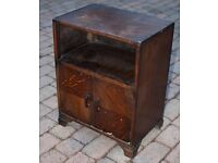 Wooden bedside table / cupboard with doors - Shabby Chic / upcycling