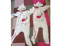 Twins Matching Christmas Babygros 6-9 Months