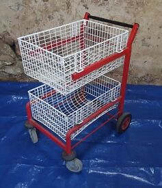 Wheeled Mail Cart Trolley Basket