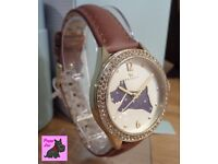 Radley – RY2210 Brown Leather Strap Watch with Champagne Crystals NEW RRP: £95