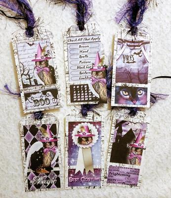 Set of 6 Hang Tags~Halloween Vintage Cats~Gift Tags~Scrapbooks~Card Crafts~#115R