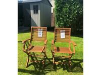 PAIR OF BRAND NEW FOLDING WOODEN ARMCHAIRS