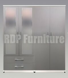 Beatrice 4 door 2 drawer mirrored wardrobe grey and white