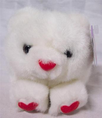 "Puffkins WHITE TEDDY BEAR W/ RED HEARTS 4"" Plush STUFFED ANIMAL Toy NEW"