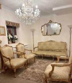 3 piece french style sofa and armchairs