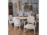 Shabby Chic Louis Style Dining Table & 6 Chairs with Arms Laura Ashley Fabric