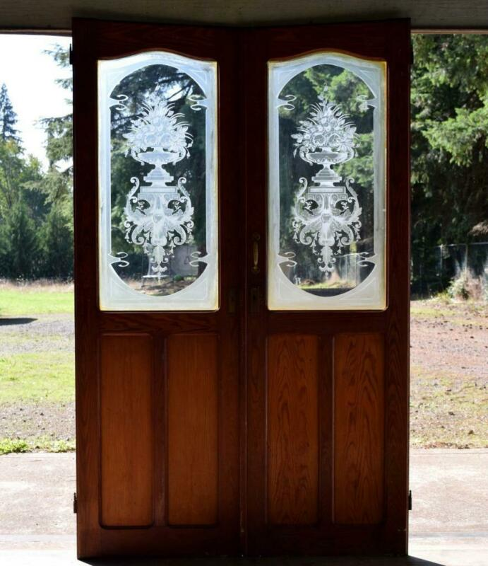 *Pair of Antique French Etched Glass Doors Frosted Stained Glass