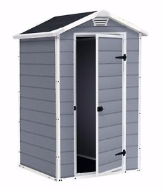 KETER MANOR 4 X 3 PLASTIC/RESIN SHED STILL IN BOX. LOCAL DELIVERY POSSIBLE. BARGAIN!!!!