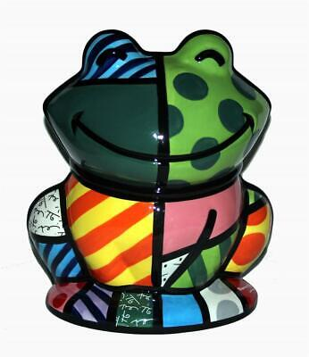 Britto Frog Bright Colorful Polka Dots Stripes Scrolls Ceramic Cookie Jar NEW