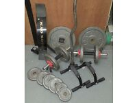 Barbells and dumbells free weights weightlifting