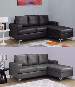 $499 - SOFA LOUNGER – BLACK BONDED LEATHER