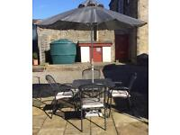 Sterling Garden Furniture with cushions and matching parasol