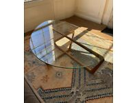 Mid-century modern Room & Board coffee table (cherry wood and glass)
