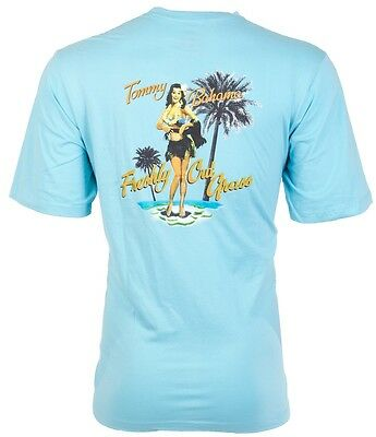 Tommy Bahama Mens T Shirt Freshly Cut Grass Hula Girl Lt Blue Relax Camp  45