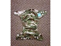 Charlie Banana One Size Cloth Nappy with 2 inserts | CAMOUFLAGE WOODLANDS | £22 | VGC | Rawmarsh