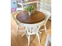 Farmhouse Dining Kitchen Table & 4 Chairs 4 Seater Shabby Chic