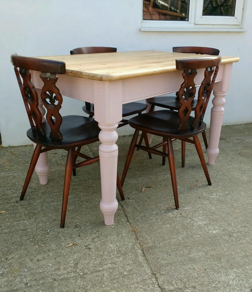 Pine Farmhouse Kitchen Table Pine Farmhouse Dining Table Pink Painted Legs And Ercol Chairs