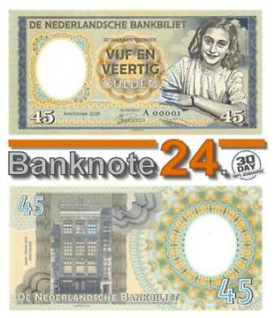 Netherlands 45 Gulden 2018 Unc Anne Frank Prefix A Private