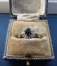 Vintage Sapphire and Diamond Cluster 18ct Gold ring