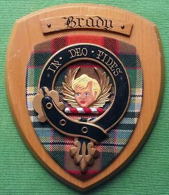 Celtic Vintage Old Scottish Carved Oak Clan Brady Plaque Crest Shield