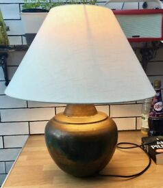 Large Brass Table Lamp - With shade + bulb - Vintage look