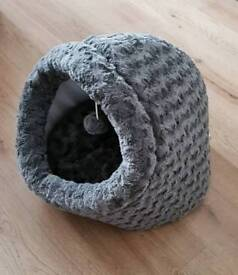 Grey cat igloo bed with hanging toy new!