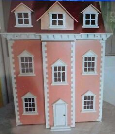 DOLLS HOUSE, THREE STOREY, BBEAUTIFUL PINK COLOUR, GEORGIAN STYLE, IDEAL CHILDS PRESENT.