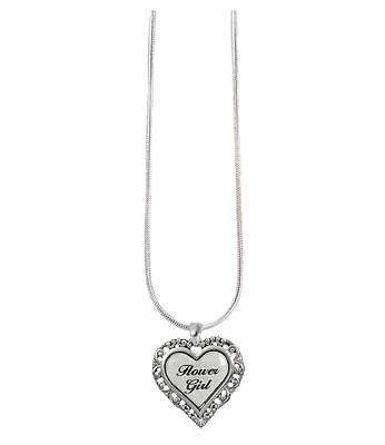 Flower Girl Pearl Heart Silver Snake Chain Necklace Jewelry Wedding Bridal Gift (Flower Girl Necklace)