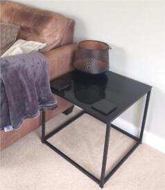 John Lewis Black Glass Cube Side Table