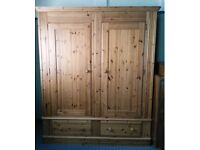 XL Solid Pine Double Wardrobe with 2 deep drawers
