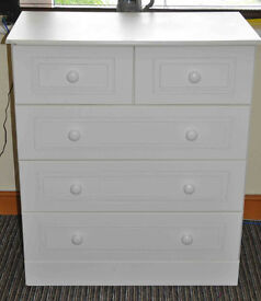 Chest of 5 Drawers - White - Very Good Condition - £40 ONLY Bargain