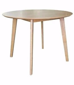 New Round Natural Oak & Rubberwood Table FREE DELIVERY 122