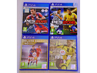 SONY PLAYSTATION PS4 GAMES BUNDLE FIFA 16 & 17 DELUXE PES 2015 & 2016 DAY ONE ED